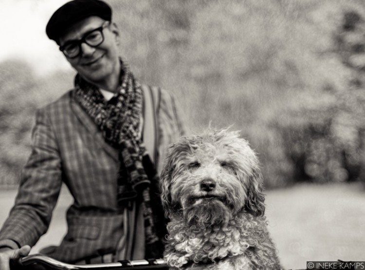 Man and Dog on a Bike